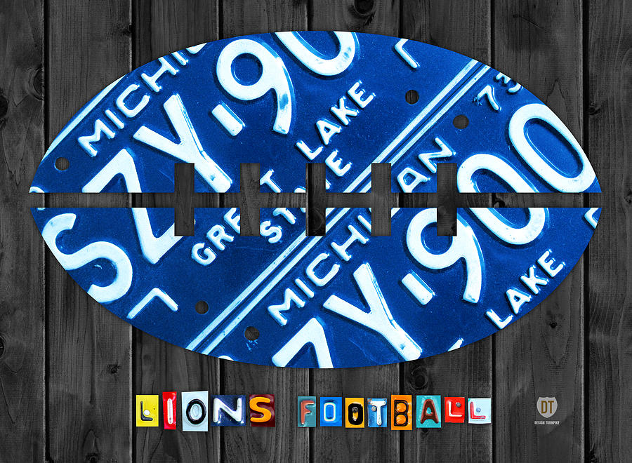 Detroit Lions Football Vintage License Plate Art Mixed Media
