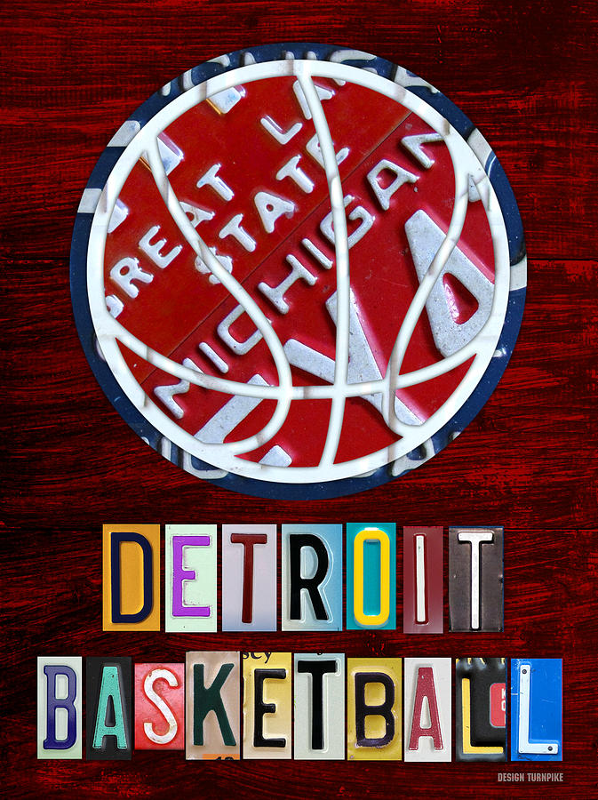 Detroit Pistons Basketball Vintage License Plate Art Mixed Media  - Detroit Pistons Basketball Vintage License Plate Art Fine Art Print