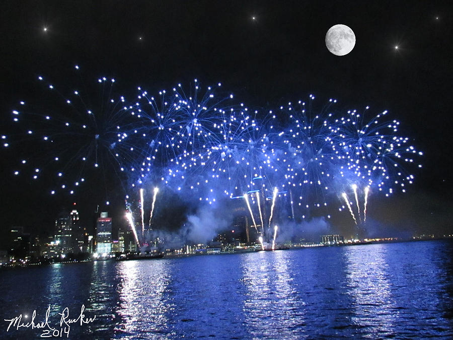 Detroit River Fireworks Photograph
