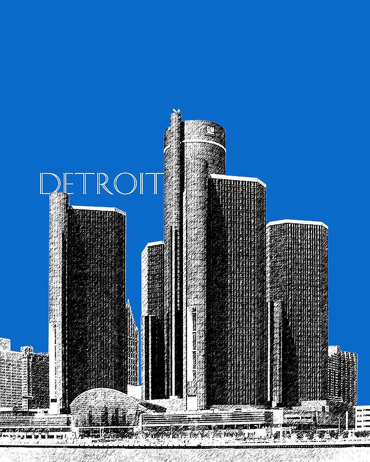 Detroit Skyline 1 - Blue Digital Art