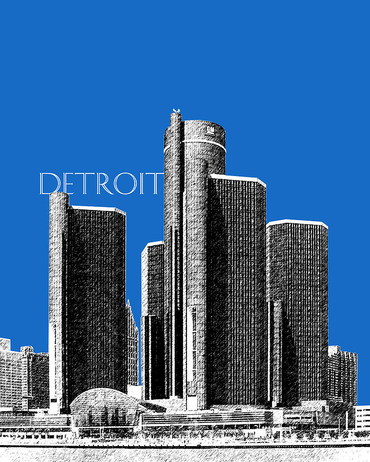 Detroit Skyline 1 Digital Art  - Detroit Skyline 1 Fine Art Print