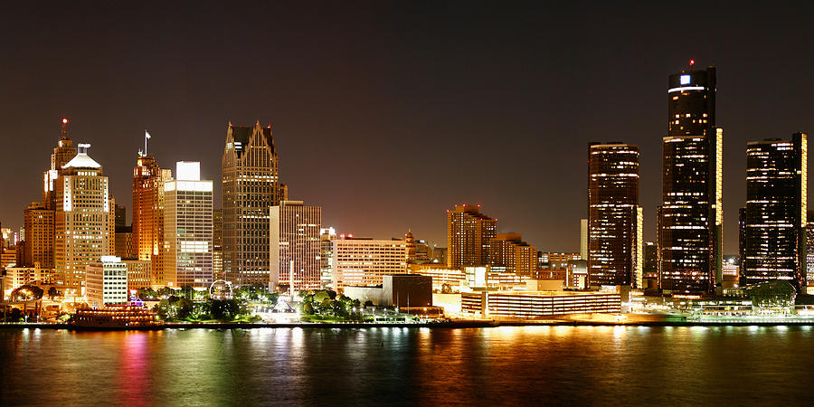 Detroit Skyline At Night-color Photograph  - Detroit Skyline At Night-color Fine Art Print