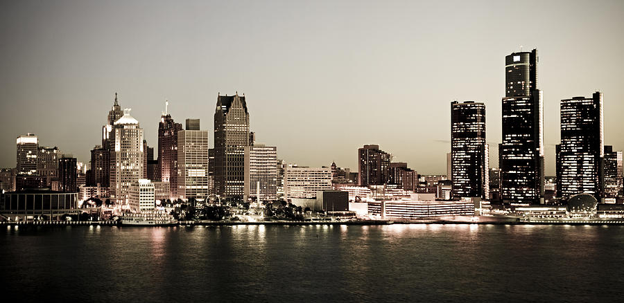 Detroit Skyline At Night Photograph  - Detroit Skyline At Night Fine Art Print