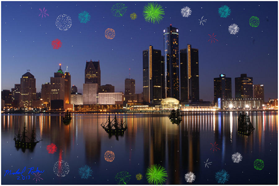 Detroit Skyline Fireworks Digital Art  - Detroit Skyline Fireworks Fine Art Print