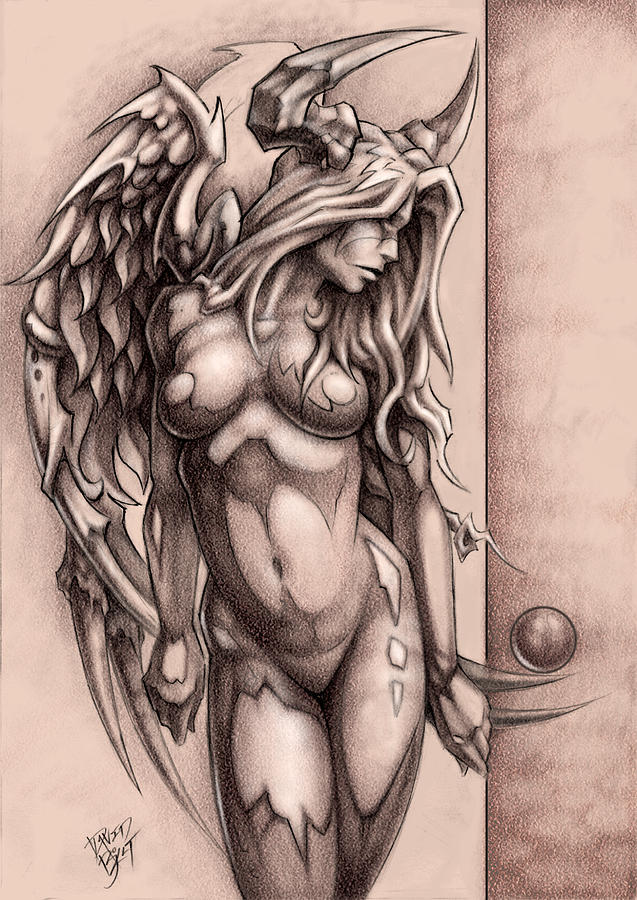 Devil Angel Drawing  - Devil Angel Fine Art Print