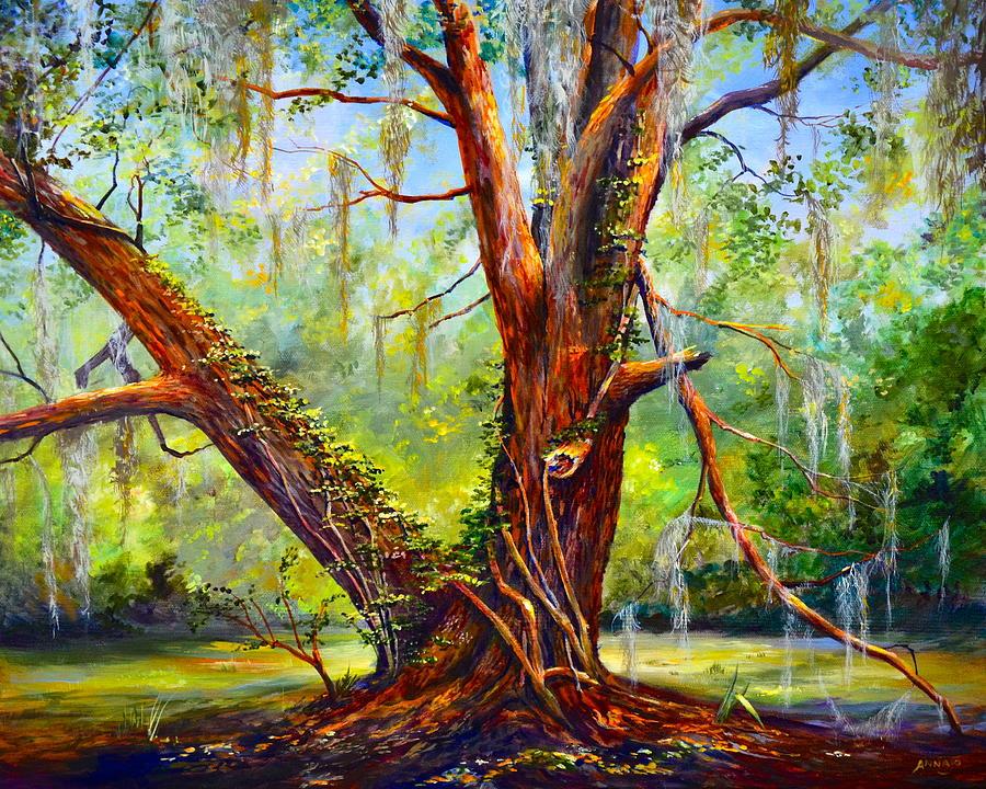 Sams House Nature Center Painting - Devine Oak by AnnaJo Vahle