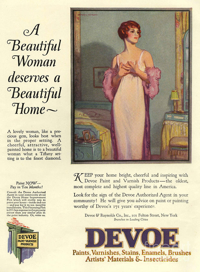 Adverts Drawing - Devoe Varnish 1920s Usa Cc Portraits by The Advertising Archives
