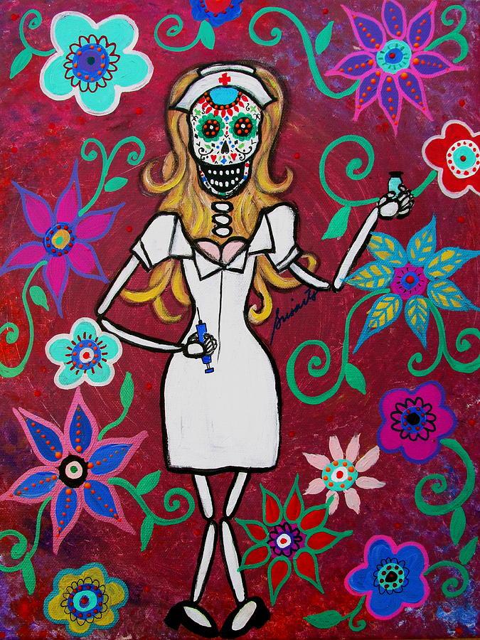 Dia De Los Muertos Nurse Calavera Painting By Pristine