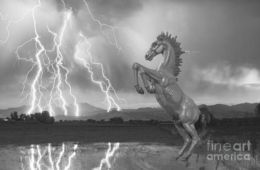 Dia Horse Photograph - Dia Mustang Bronco Lightning Storm Bw by James BO  Insogna