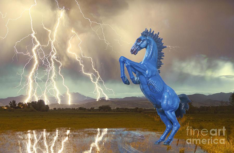 Dia Mustang Bronco Lightning Storm Photograph
