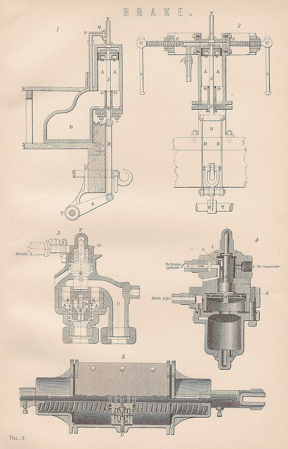 Diagram Of A Brake Drawing  - Diagram Of A Brake Fine Art Print