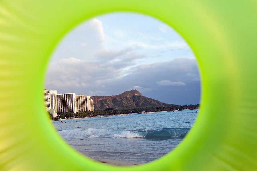 Diamond Head Framed By Floatie Photograph  - Diamond Head Framed By Floatie Fine Art Print