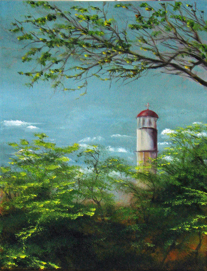 Diamond Head Lighthouse Painting  - Diamond Head Lighthouse Fine Art Print