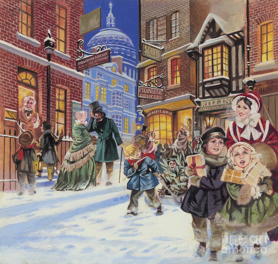 Dickensian christmas scene painting by angus mcbride Christmas card scenes to paint