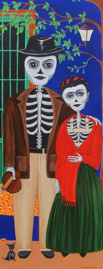 Diego Y Frida Blue House Marigolds Painting