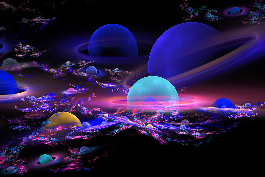 Digital Abstract Fractal Art Planet Spheres Photograph By