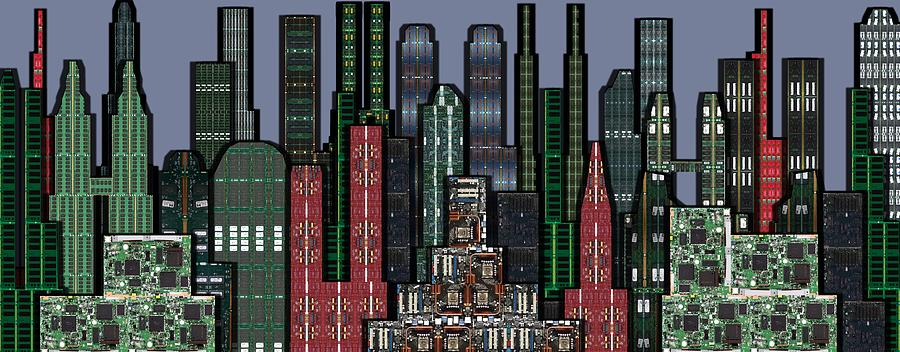 Digital Circuit Board Cityscape 5a - Wide Digital Art  - Digital Circuit Board Cityscape 5a - Wide Fine Art Print