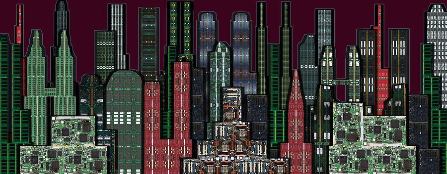 Digital Circuit Board Cityscape 5b - Wine Sky Digital Art