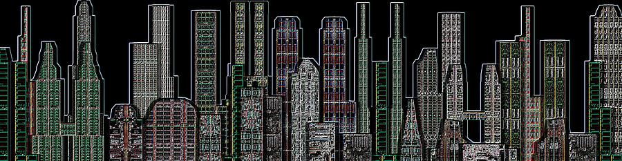 Digital Circuit Board Cityscape 5d - Blacktops Digital Art