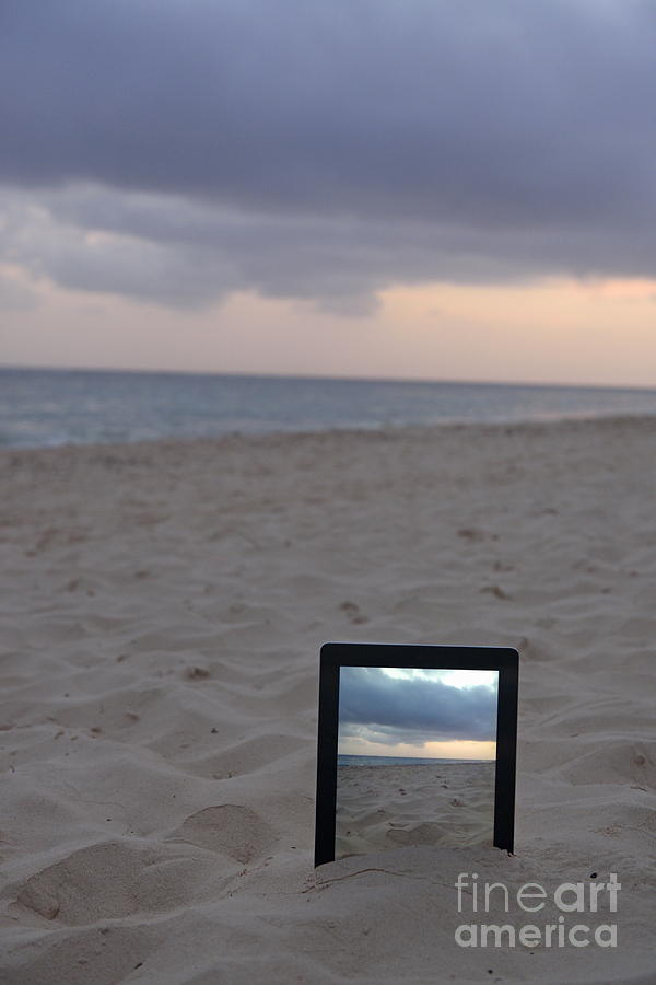 Digital Tablet In Sand On Beach At Sunrise Photograph