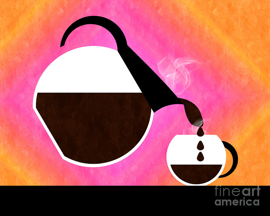 Coffee Digital Art - Diner Coffee Pot And Cup Sorbet Pouring by Andee Design