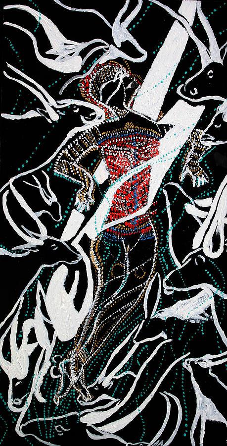 Jesus Painting - Dinka Dance by Gloria Ssali