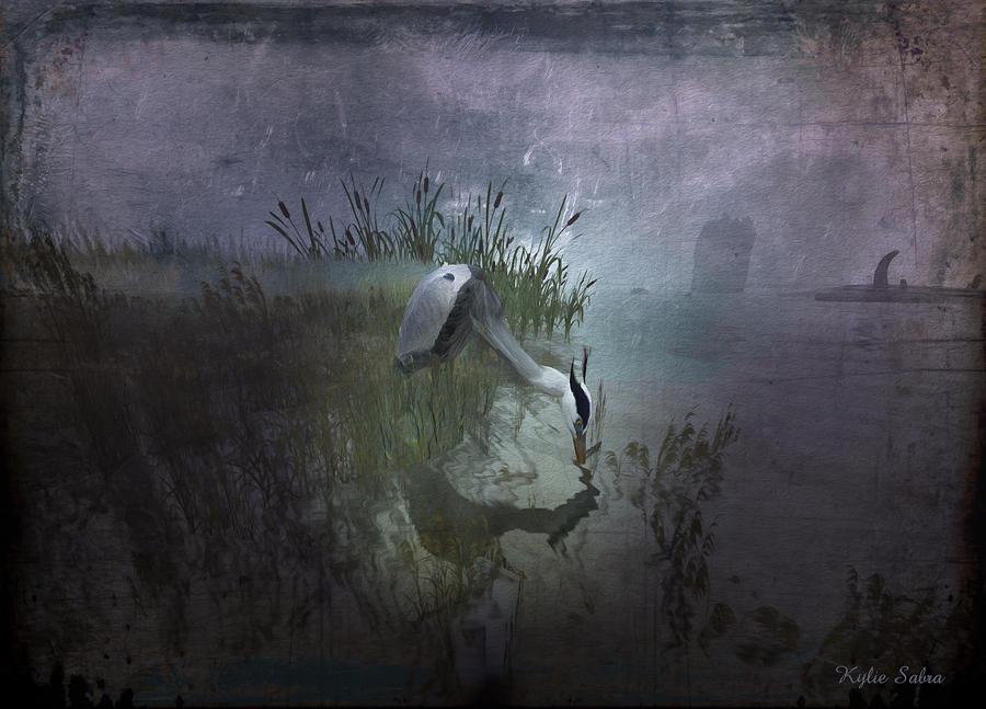 Water Fowl Digital Art - Dinner Alone by Kylie Sabra