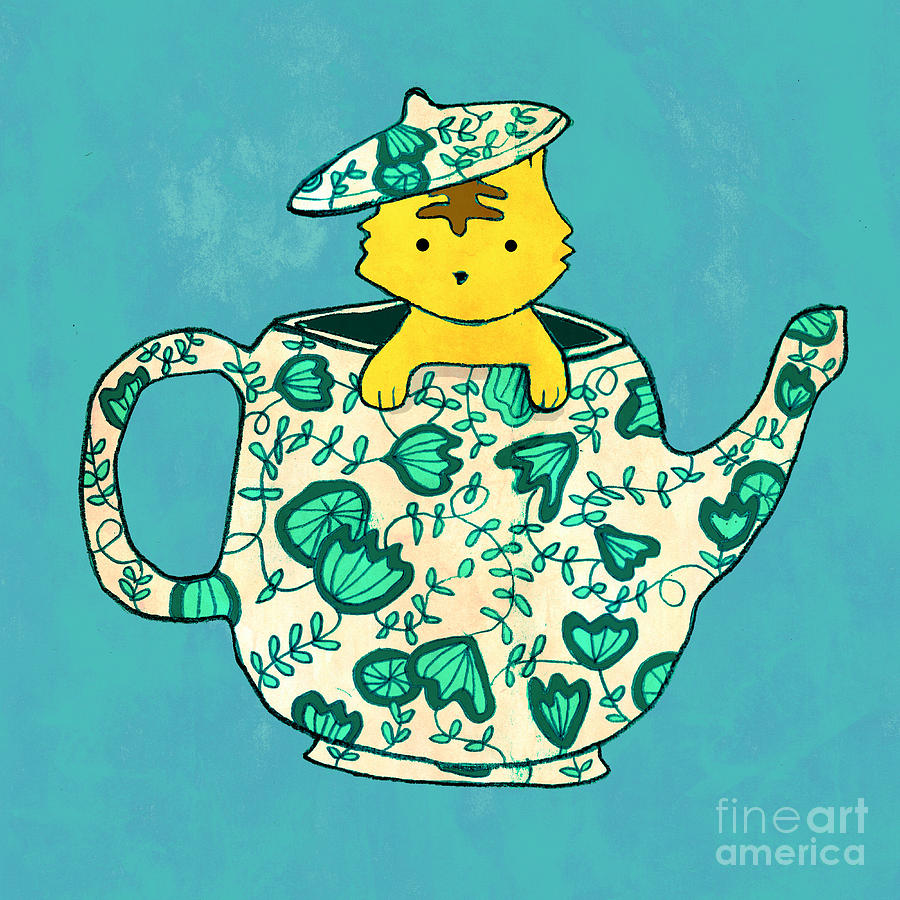 Dinnerware Sets Kitten In A Teapot Digital Art