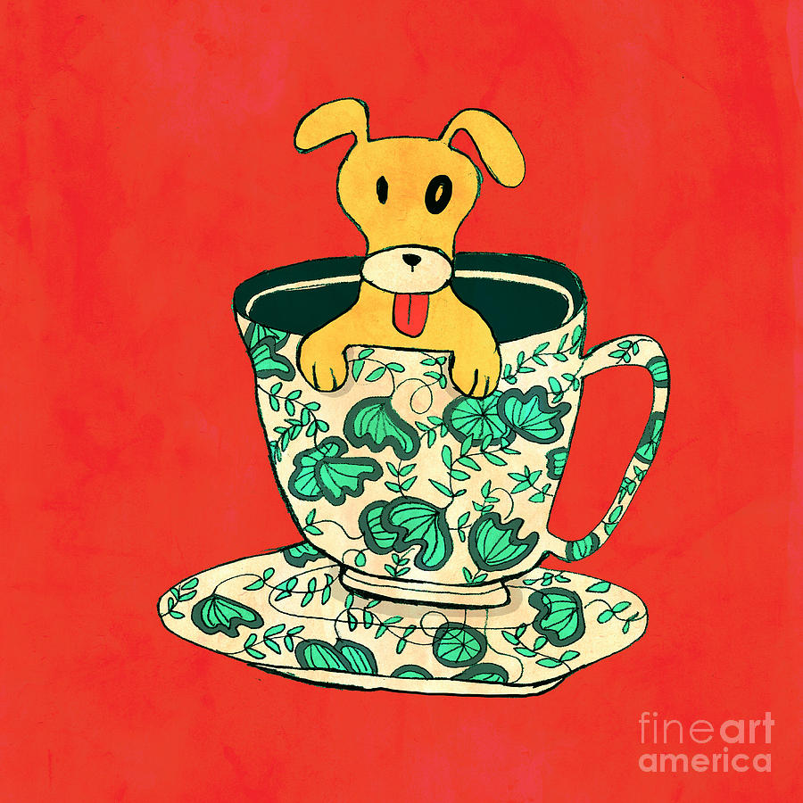 Dinnerware Sets Puppy In A Teacup Digital Art  - Dinnerware Sets Puppy In A Teacup Fine Art Print