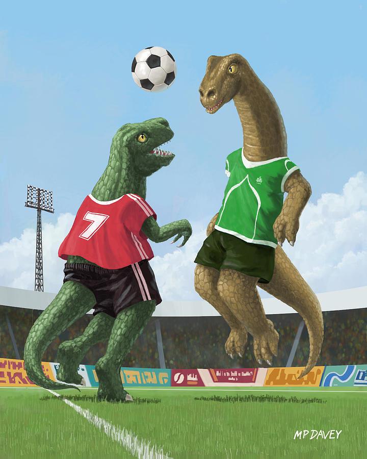 Dinosaur Painting - Dinosaur Football Sport Game by Martin Davey