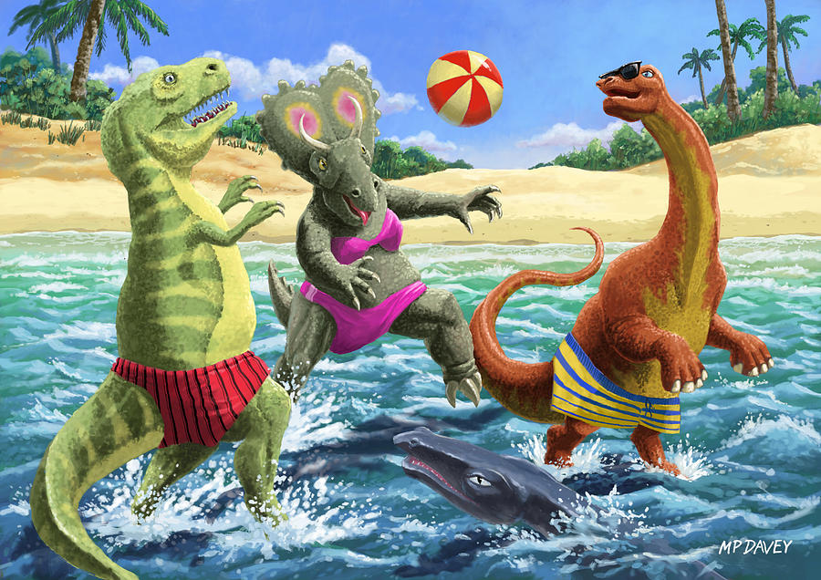 Dinosaur Digital Art - dinosaur fun playing Volleyball on a beach vacation by Martin Davey