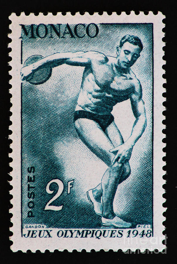 Discus Vintage Postage Stamp Print Photograph