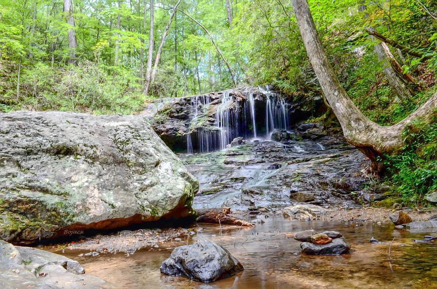 Waterfalls Digital Art - Disharoon Creek Falls by Bob Jackson