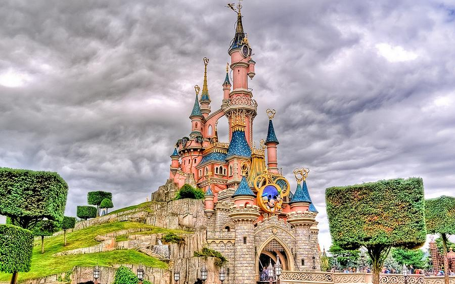 disney Castle Painting by Tian Chen