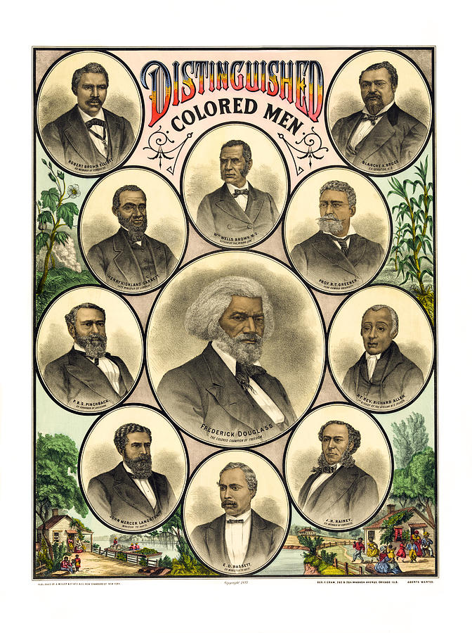 Distinguished Colored Men   1883 Photograph  - Distinguished Colored Men   1883 Fine Art Print