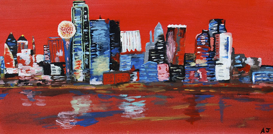 Distorted Dallas Skyline Painting  - Distorted Dallas Skyline Fine Art Print
