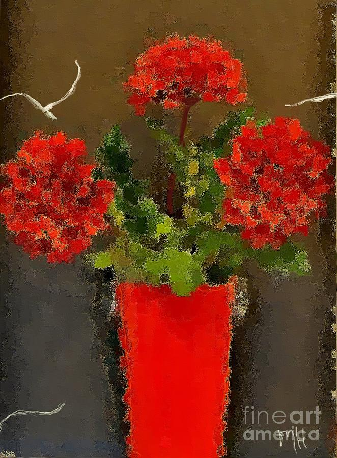 Photo Photograph - Distressed Red Flowers Pictures by Marsha Heiken