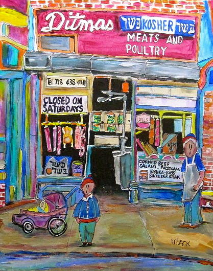 Kosher Meat Market Painting - Ditmas Kosher Market by Michael Litvack