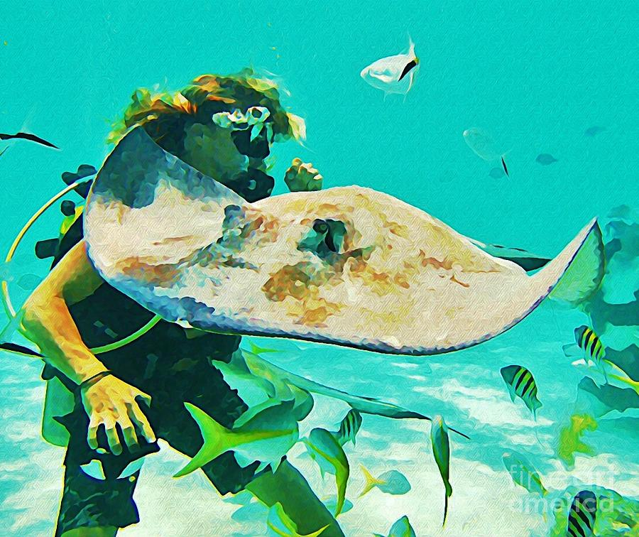 Diver And Stingray Photograph  - Diver And Stingray Fine Art Print