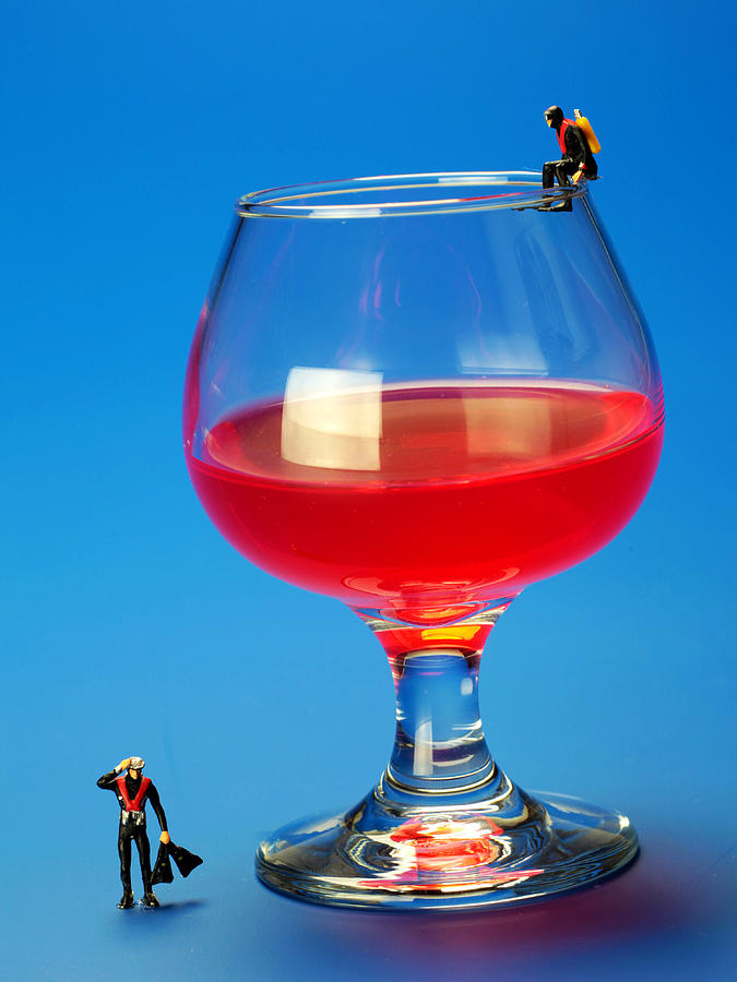 Diving Photograph - Diving In Red Wine Little People Big Worlds by Paul Ge