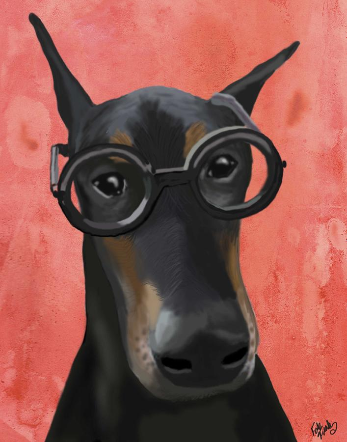 Doberman With Glasses Digital Art  - Doberman With Glasses Fine Art Print