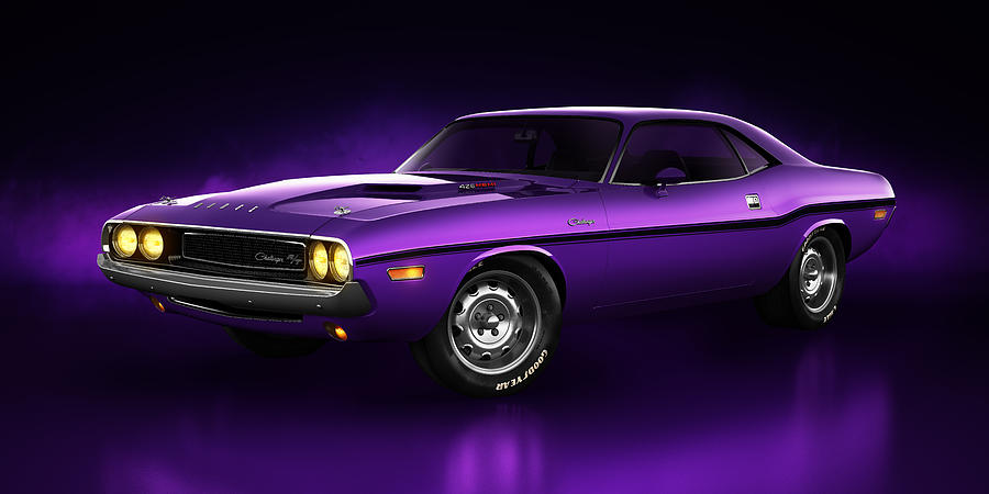 Dodge Challenger Hemi - Shadow Digital Art  - Dodge Challenger Hemi - Shadow Fine Art Print