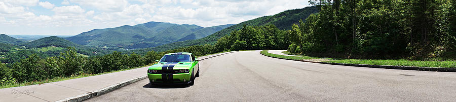 Dodge challenger srt green with envy panoramic photograph by sharon popek