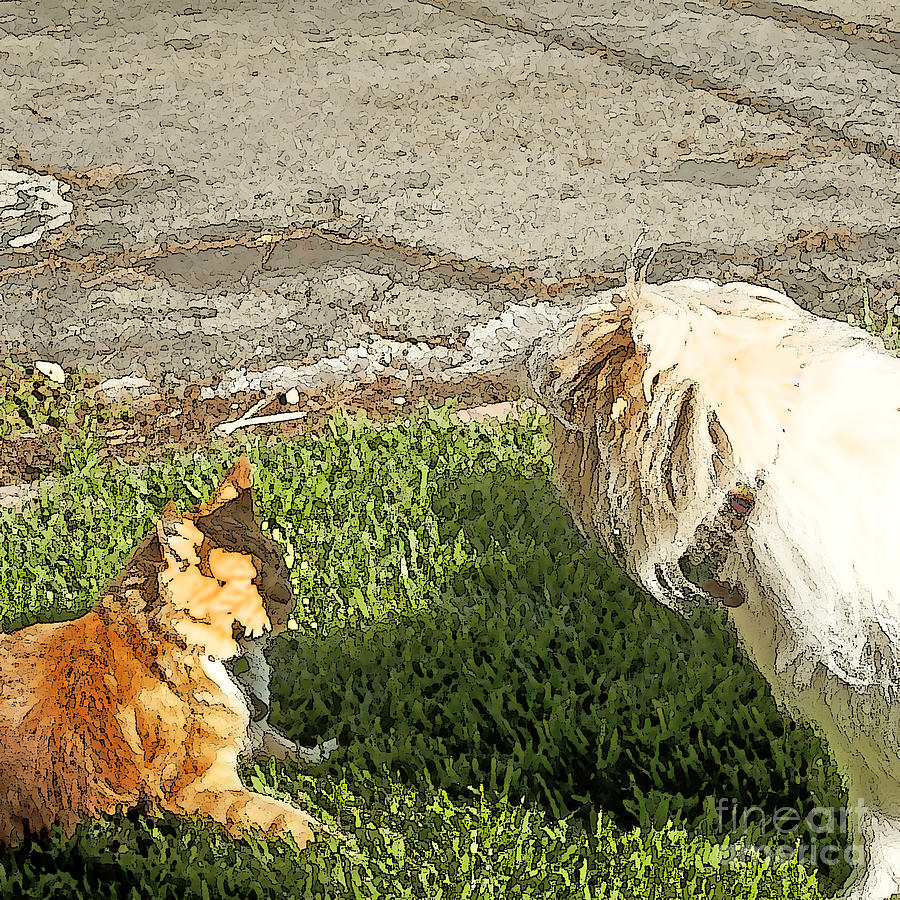 Dog And Cat Discuss Painting  - Dog And Cat Discuss Fine Art Print