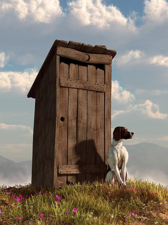 Dog Guarding An Outhouse Digital Art  - Dog Guarding An Outhouse Fine Art Print