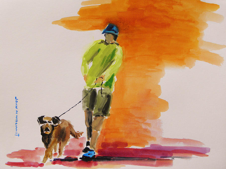 Dog Walker Painting  - Dog Walker Fine Art Print