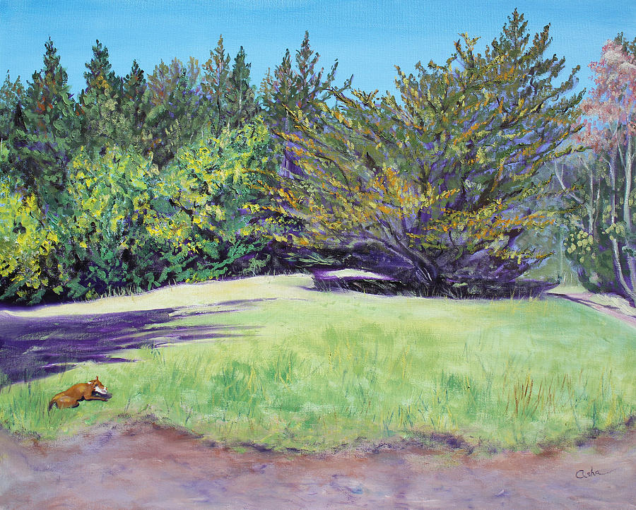 Dog With Bone In Spring Meadow Painting