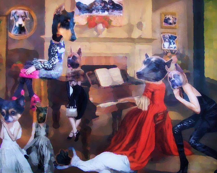 Doberman Painting - Dogs Heads On Beautiful Women by Lisa Piper Menkin Stegeman