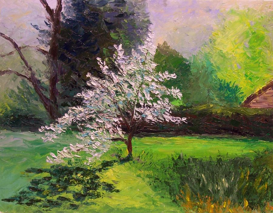 Peggy Duke White Dogwood and Butterfly Giclee Print of