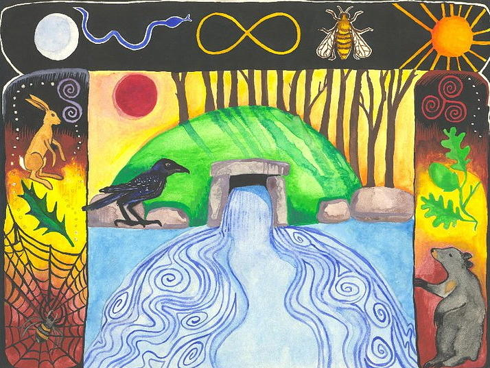 Cat Athena Louise Paintings Painting - Dolmen Gateway by Cat Athena Louise